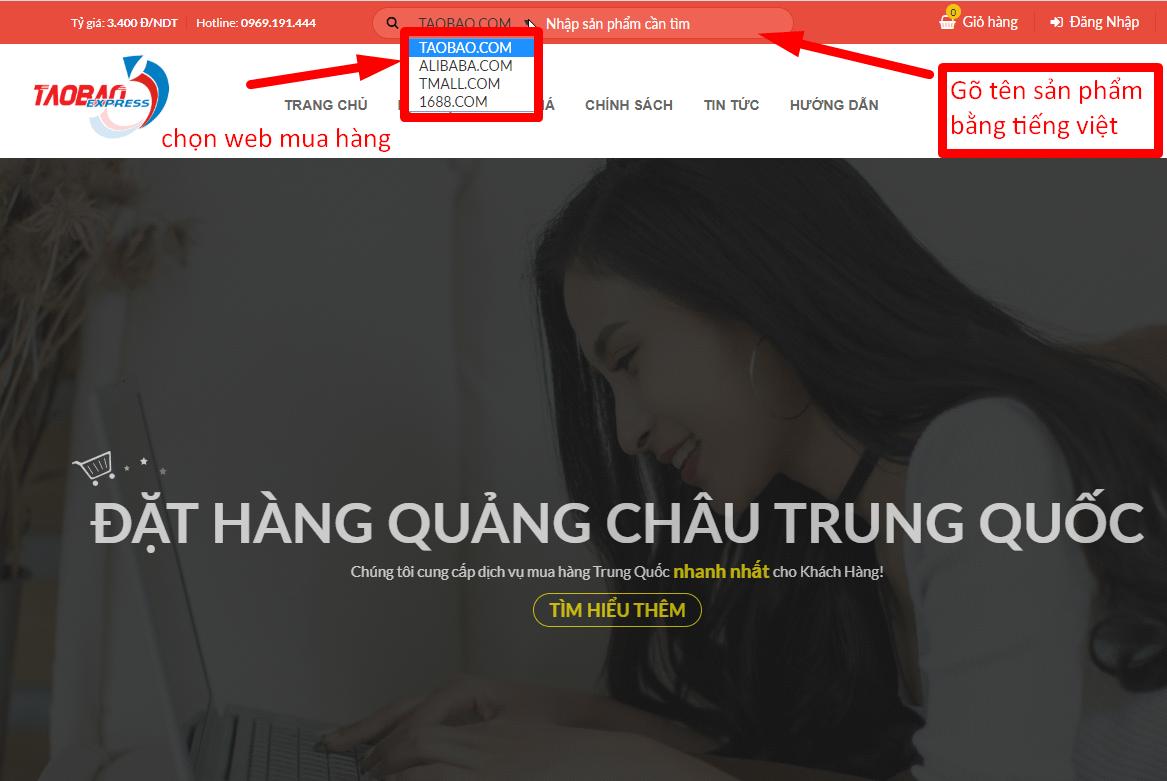 Tìm kiếm sản phẩm trên taobao