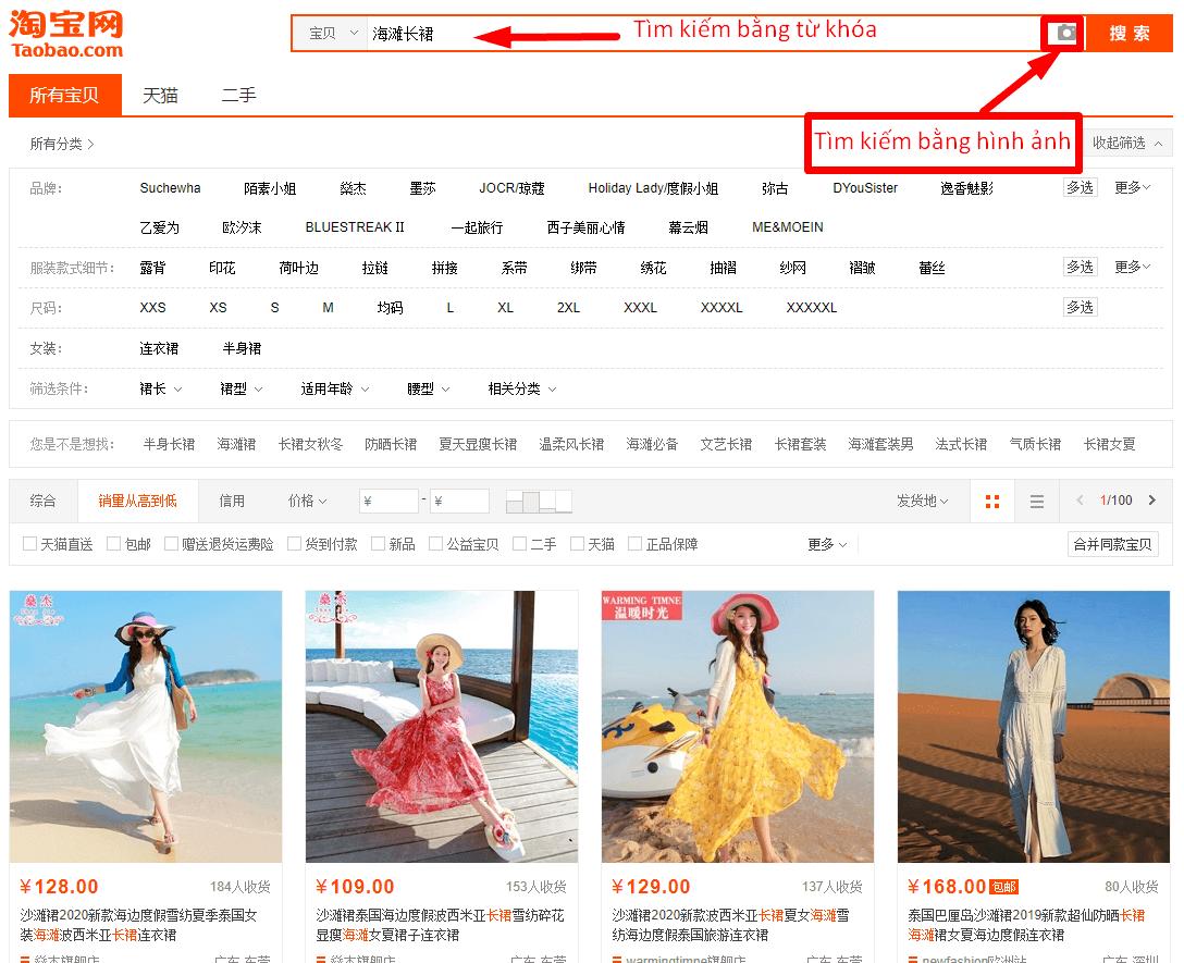 cách tìm kiếm sản phẩm váy bầu mùa hè trên taobao
