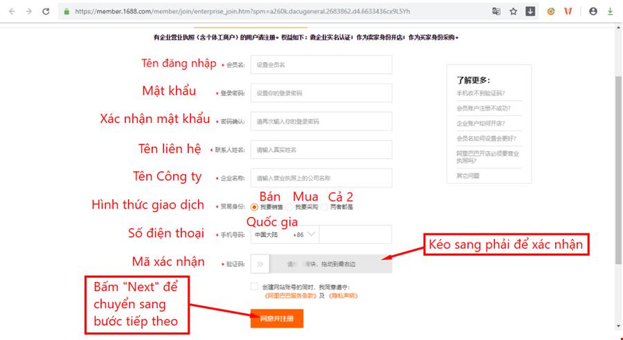hướng dẫn đăng ký tài khoản trên trang taobao