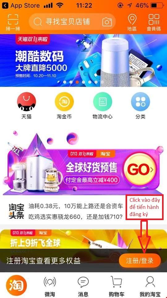 đăng ký tài khoản taobao trên điện thoại