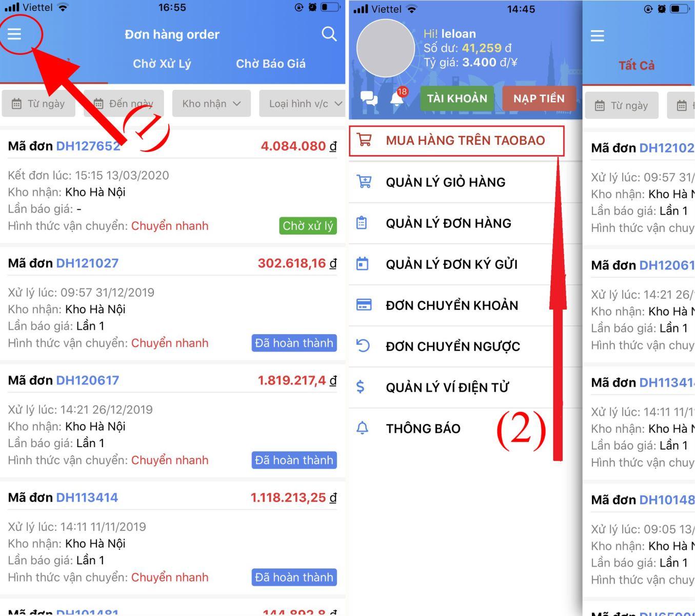 hướng dẫn mua hàng taobao trên điện thoại