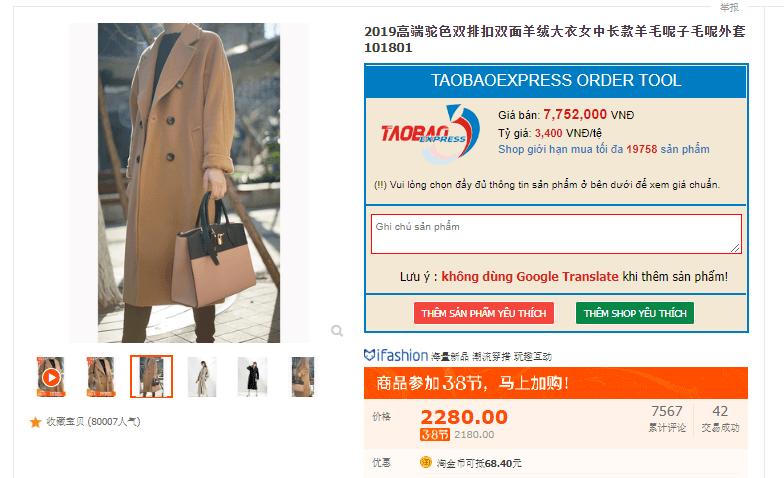 sản phẩm đặt hàng taobao