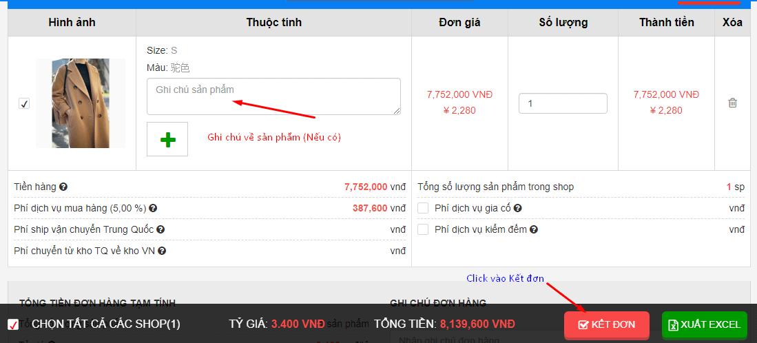 kết đơn đặt hàng taobao