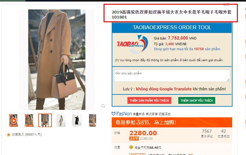 lưu ý khi đặt hàng taobao