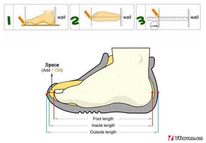 cách đo size giày cho bé