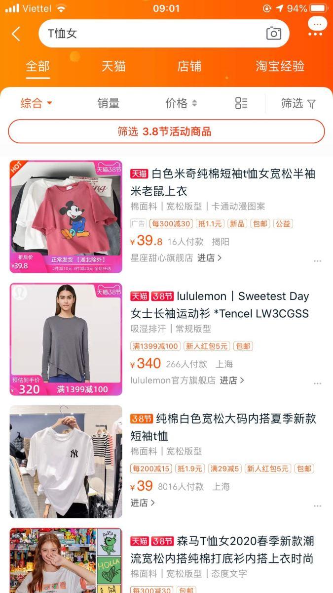 cách tìm kiếm sản phẩm trên app taobao